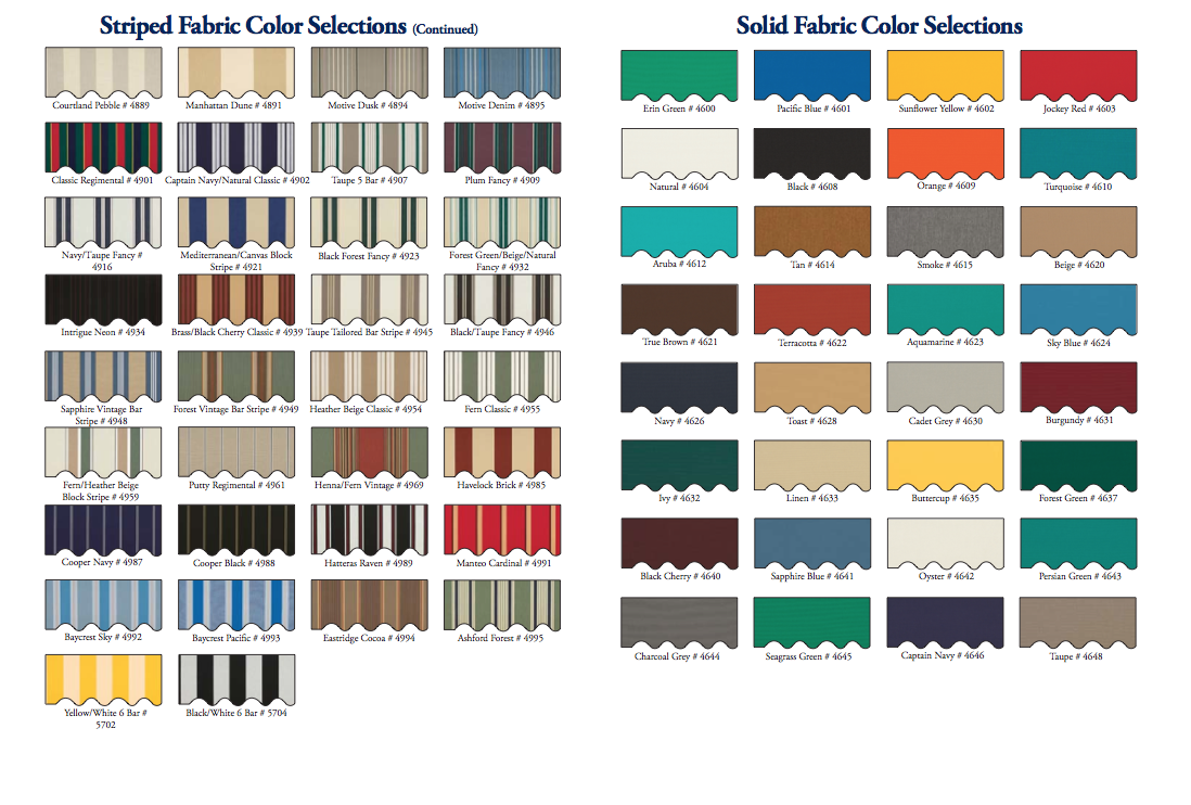 Fabric Colors & Patterns | Awnings Of Eastern Connecticut
